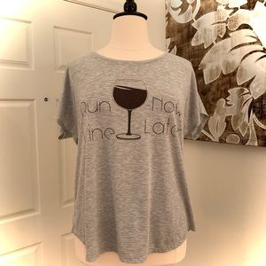 "Style & Co Sport ""Run Now, Wine Later"" T-Shirt 🍷"